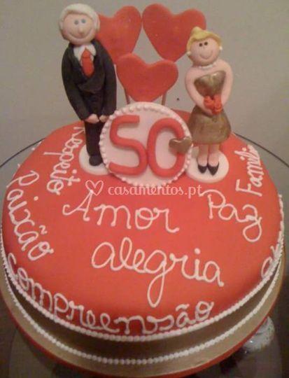 Bolo de bodas 50 anos