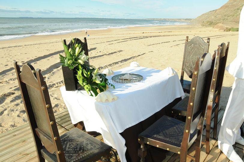 Casamento na areia da praia