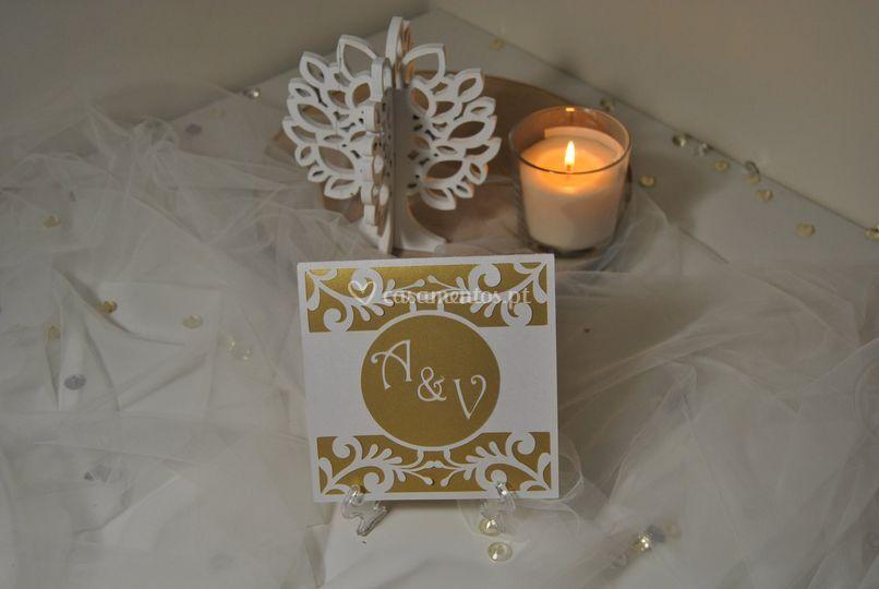 Convite de casamento gold fram