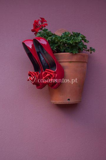 Cenário fotog. c sapatos noiva