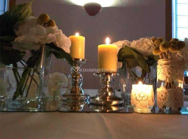 Decoração com velas de Quinta do Cerrado
