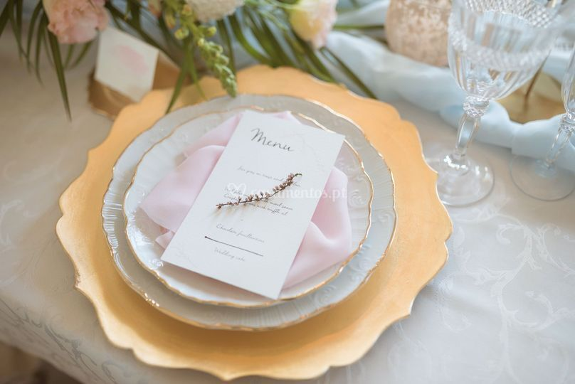 Menu blush gold