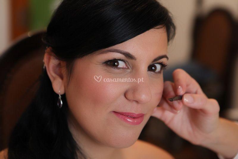 Maquilhagem dos olhos noiva