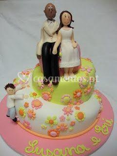 Bolo de casamento colorido
