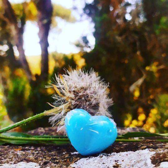 Coração azul opaco