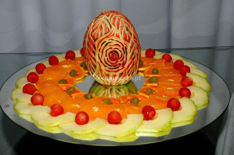 Fruta com decoração