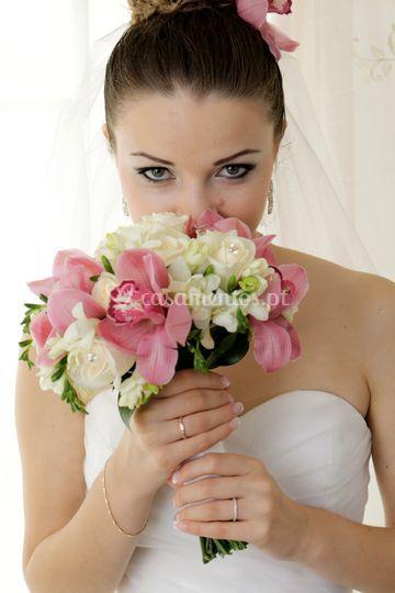 Bouquet noiva rosas, orquideas
