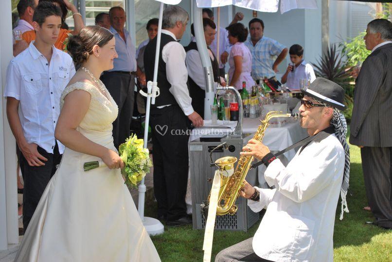 Receção com saxofone