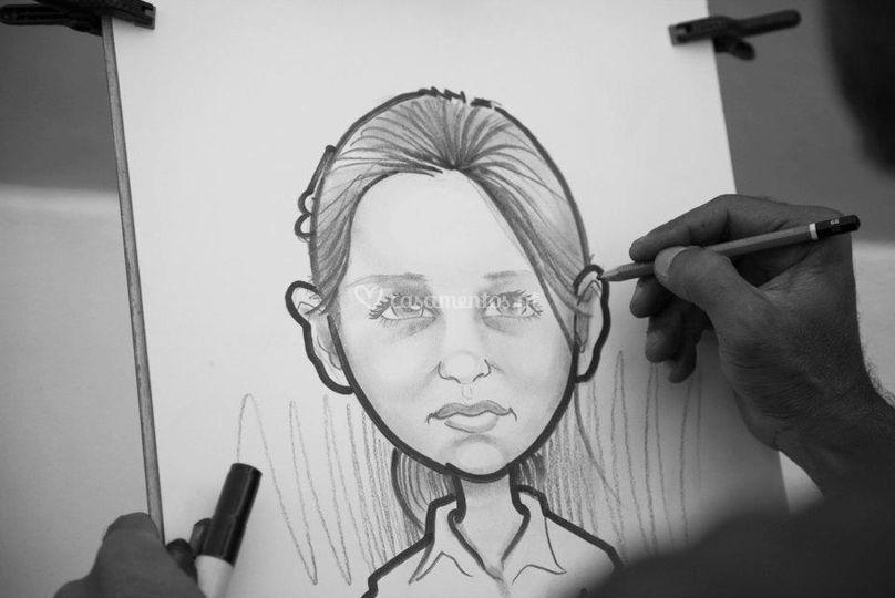 Caricatura ao vivo menina