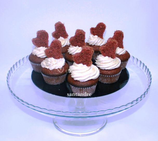 Cupcakes red velvet coração