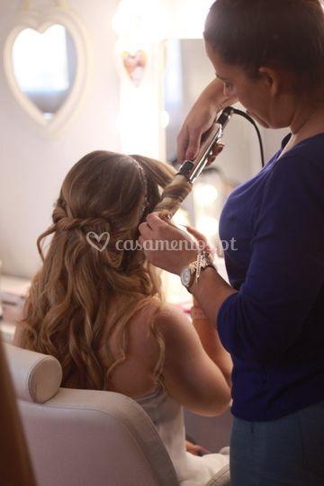 Durante a prova de cabelos
