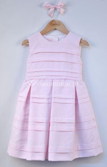 Vestido preguinhas risca rosa
