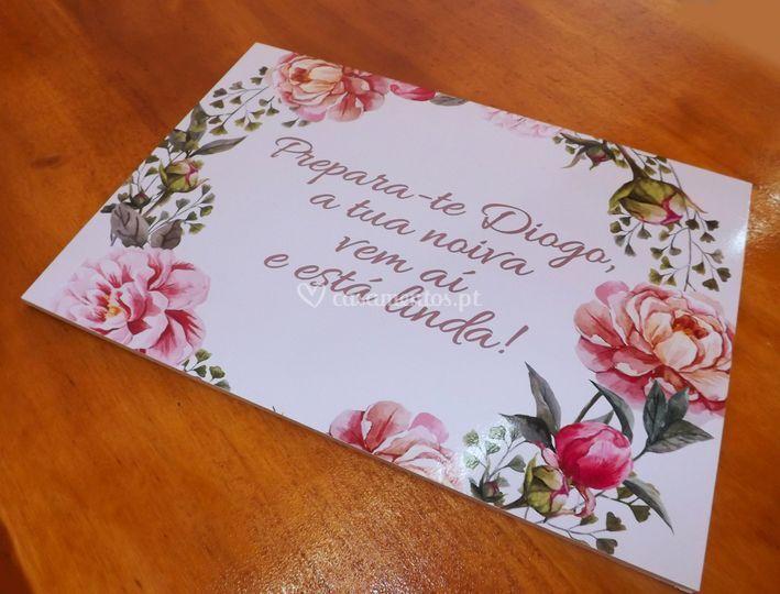 Placa pvc p/ entrada da noiva