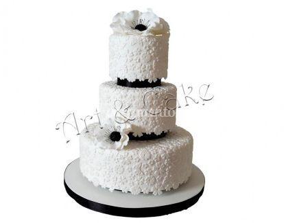 Bolo de casamento branco e preto