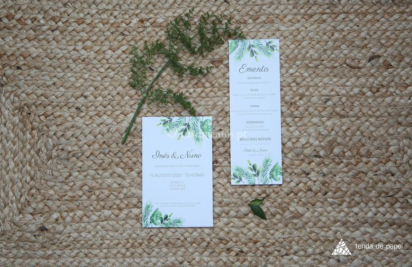 Convite e ementa casamento