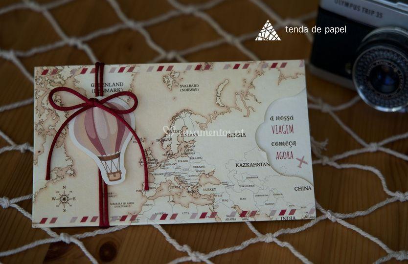 Convite mapa mundi