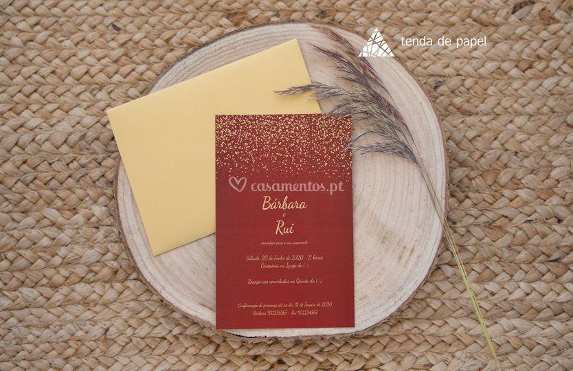 Convite vermelho/dourado