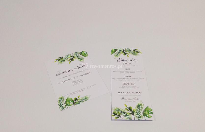 Convite e ementa greenery