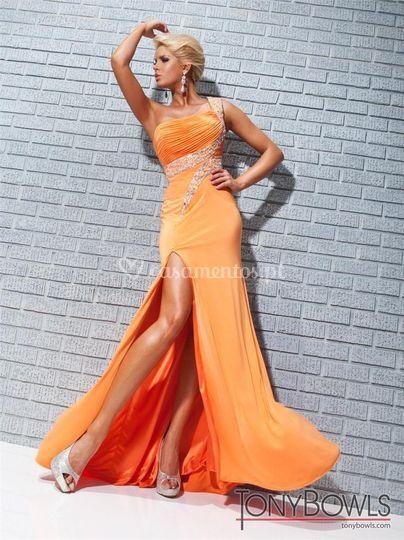 Vestido de cerimónia laranja