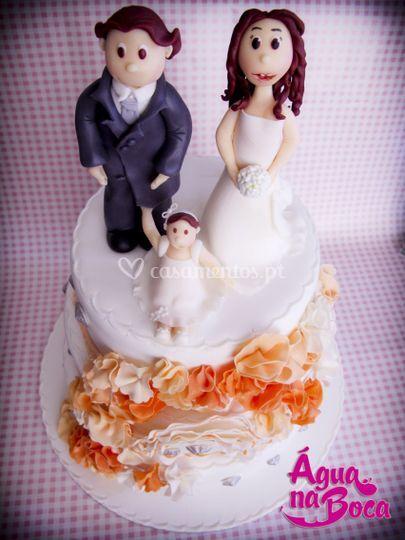 Bolo casamento - Noivos&filha
