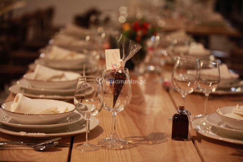 Pormenor do decor das mesas