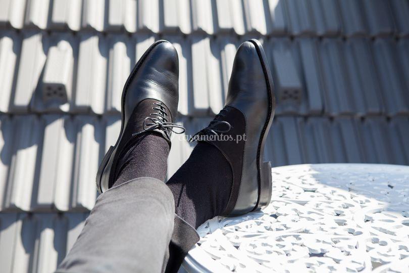 Sapato Pele e Nobuk Preto.