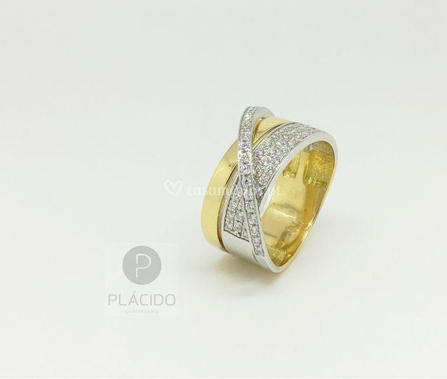 Anel ouro branco e amarelo