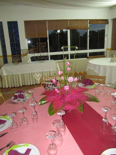 Decoração mesas rosa