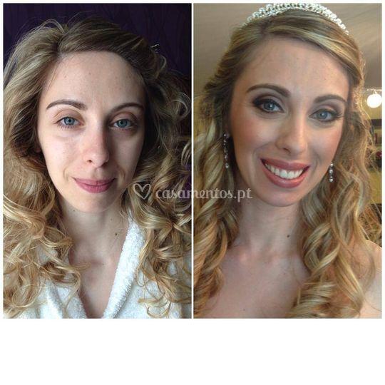 Antes e depois-Makeup noiva