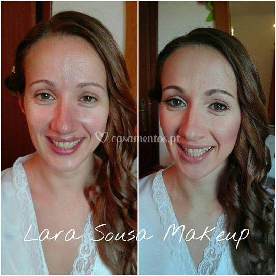 Antes e depois da maquilhagem