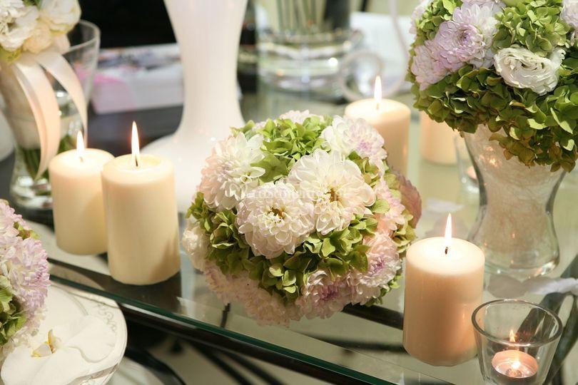 Decoração flores e velas