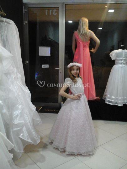 Vestido  de  Menina  Bege/rosa