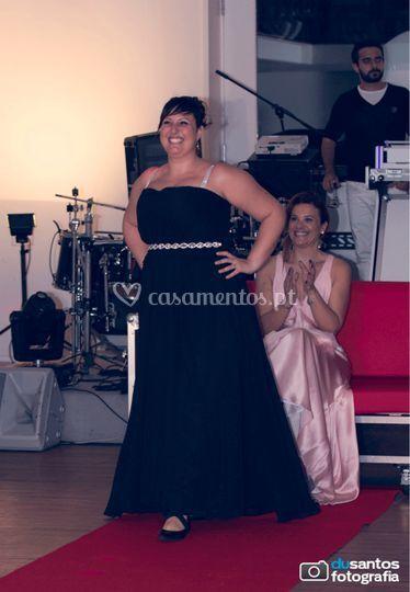 Vestido  longo  preto  shifon