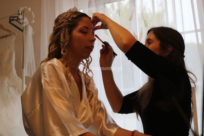 Penteado e maquilhagem de noiva