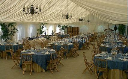 Elegante decoração em azul