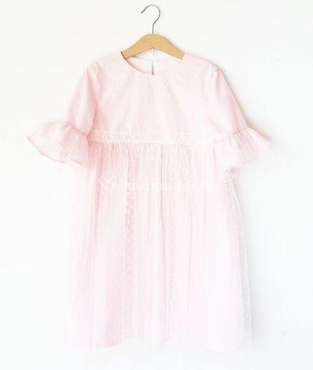 Vestido rosa com tule
