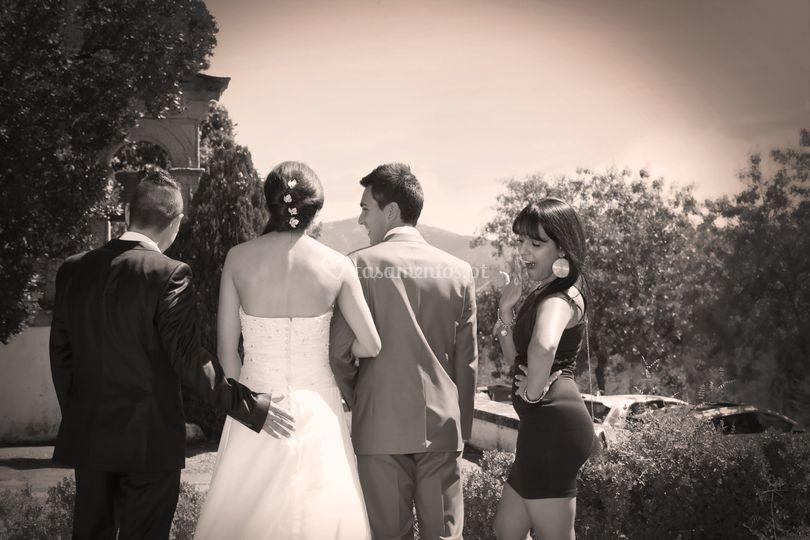 Os convidados e os noivos