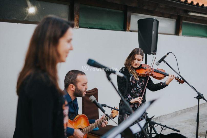 Voz, guitarra e violino