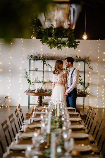 Noivos e a decoração