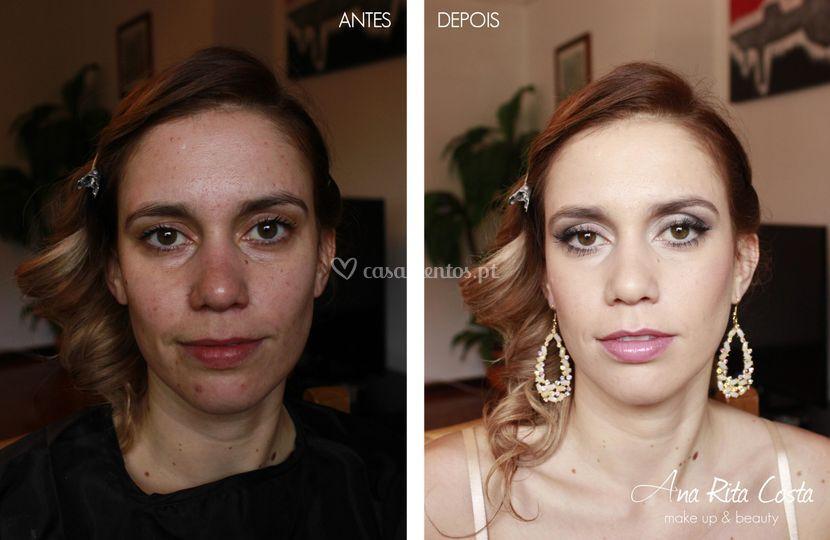 Maquilhagem antes e depois