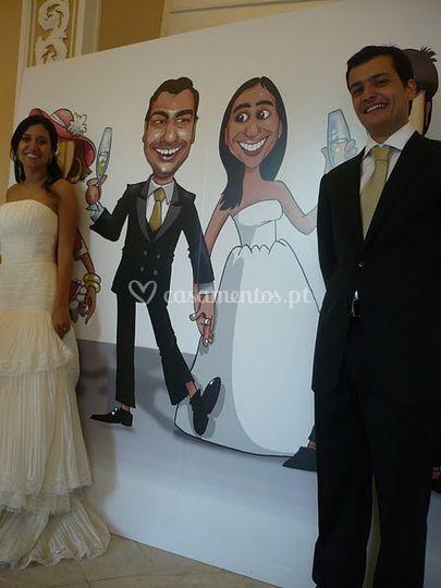 Placard gigante para noivos