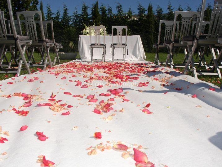 Altar com pétalas de flor