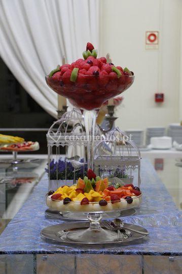 Mesa de frutas.