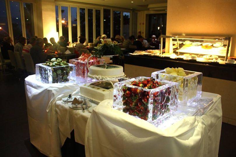 Cubos em gelo para buffet