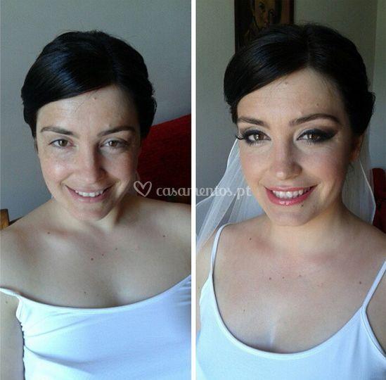 Antes/depois maquilhagem noiva