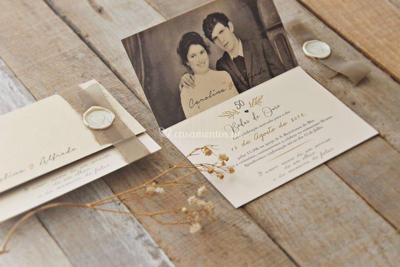 Convite bodas de ouro