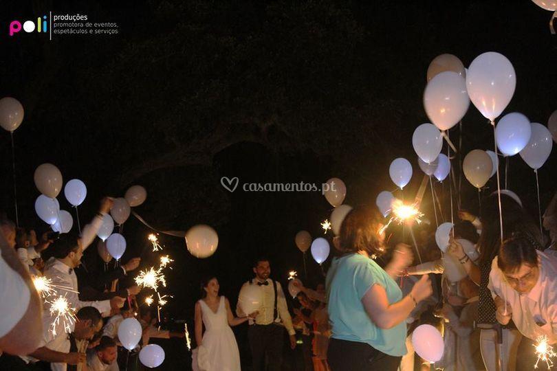 Balões e sparklers