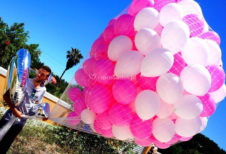Lançamento balões em rede