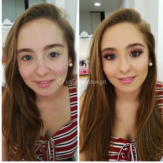 Makeup antes e depois