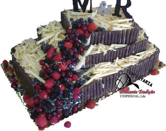 Decoração chocolate e frutas